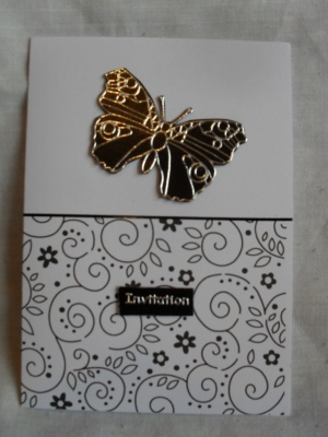 Black and white Butterfly Wedding Invitation codebl1b