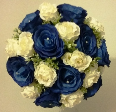 Blue and Ivory Rose Silk Flower Collection