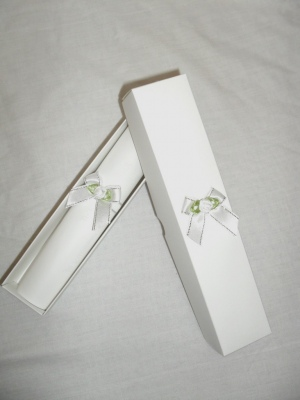 Contemporary White Scroll Wedding Invitation With White Satin Bow